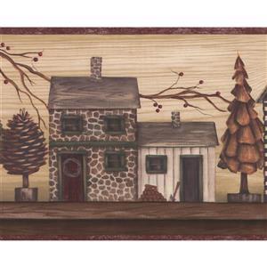 Chesapeake Vintage Country Street Wallpaper Border - Brown