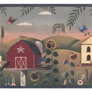 Chesapeake Vintage Birdhouses and Sunflower Wallpaper