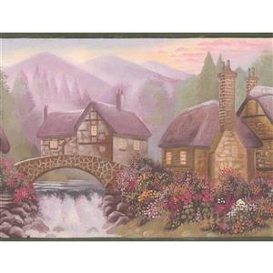 Retro Art Mountain Village Vintage Wallpaper