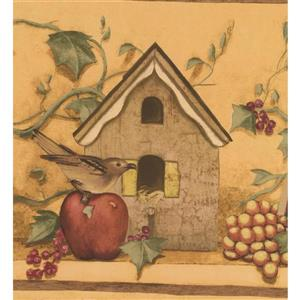 Retro Art Vintage Birdhouses and Fruits Wallpaper - Brown/Yellow