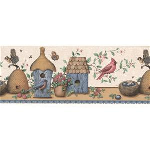 Retro Art Vintage Birdhouses and Nests -Brown/Blue