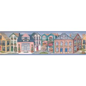 Retro Art Vintage Houses Wallpaper Border