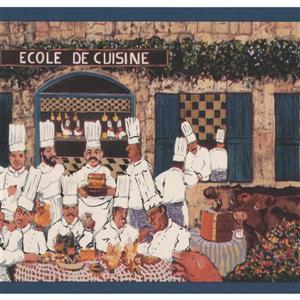 York Wallcoverings Vintage French Restaurant and Cooks Wallpaper - White