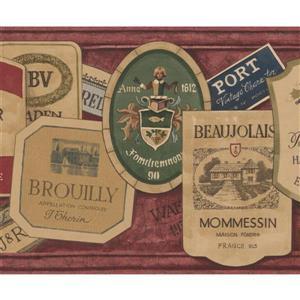 Norwall Vintage Sticker Labels Wallpaper Border