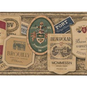 Norwall Vintage Sticker Labels Wallpaper Border
