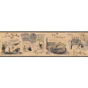 Chesapeake Vintage City Sketches Wallpaper - Beige/Grey