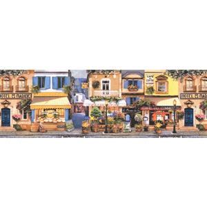 Retro Art French Town Wallpaper Border - Yellow/Blue