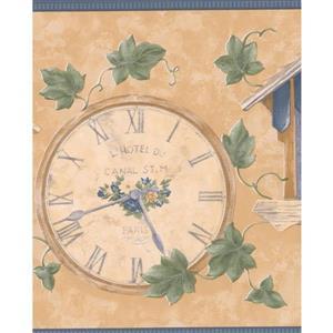Retro Art Vintage Wall Clocks Wallpaper Border - Beige