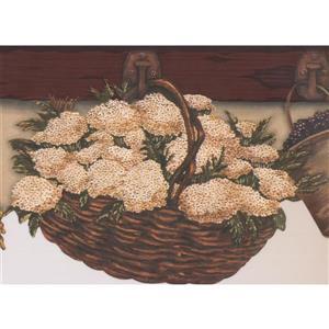 Chesapeake Hanging Baskets Wallpaper Border - Brown