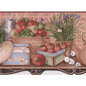 Retro Art Kitchen Shelf Wallpaper Border - Multicolour