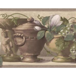 Retro Art Vintage Vases and Kitchen Shelf Wallpaper - Brown/White