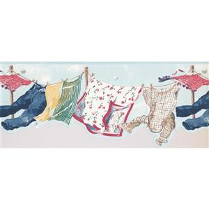 York Wallcoverings Retro Clothes Drying Line Wallpaper - Blue
