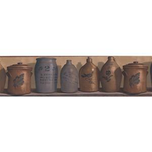 Chesapeake Vintage Jugs on Wood Kitchen Shelf Wallpaper Border