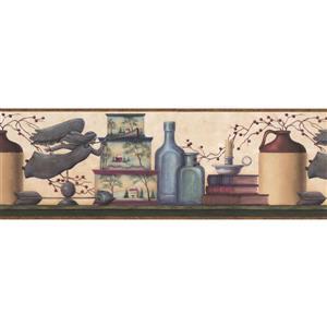 Chesapeake Books and Candle Modern Wallpaper Border - Beige