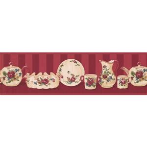 Retro Art Cup and Plate Kitchen Wallpaper Border - Brown