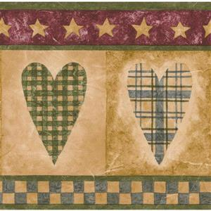 Norwall Hearts in Squares Wallpaper Border - Beige