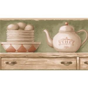 Retro Art Kitchen Tea Cups and Plates Wallpaper - Beige/Olive Green