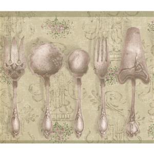 Chesapeake Vintage Kitchen Tableware Wallpaper - Olive Green