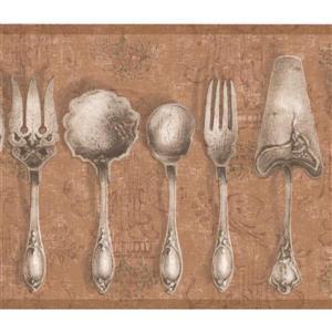 York Wallcoverings Vintage Kitchen Tableware Wallpaper - Brown
