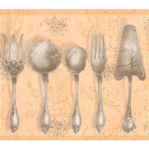 York Wallcoverings Vintage Kitchen Tableware Wallpaper - Honey Orange