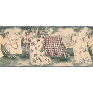 Retro Art Clothes Drying Line Wallpaper - Green