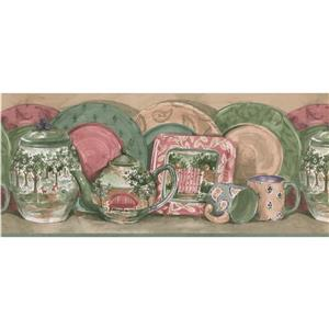 Retro Art Plates, Cups and Kettle Kitchen Wallpaper - Green/Beige