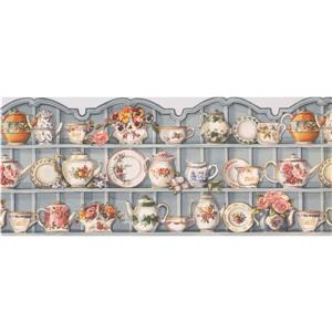 Retro Art Kitchen Cabinets with Plates Wallpaper - Grey