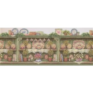 Retro Art Vintage Wooden Kitchen Cabinets with Plates - Green