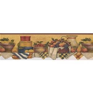 Norwall Kitchen Table with Fruit Basket Wallpaper - Yellow