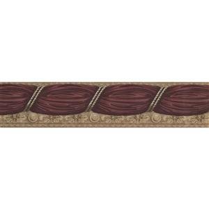 Retro Art Curtain Wallpaper Border - Purple/Beige