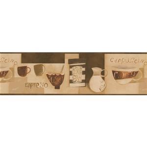Norwall Coffee Cups Kitchen Bar Wallpaper Border - Beige
