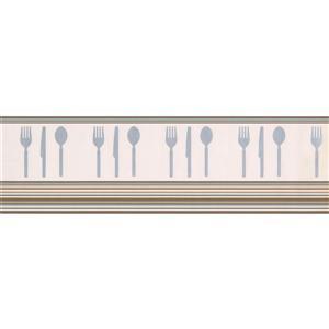 Norwall Cutlery Kitchen Wallpaper - Beige/Grey