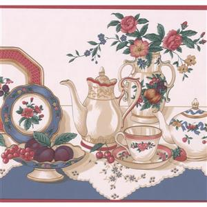 Retro Art Table with Tea Party Set Wallpaper - Blush Pink