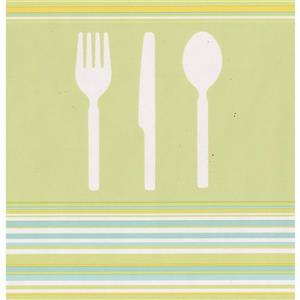 Norwall Cutlery Kitchen Wallpaper Border - White/Olive Green