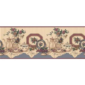 Retro Art Table with Tea Party Set Wallpaper - Beige