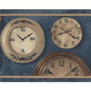Norwall Plates with Wall Clocks Wallpaper Border - Beige/Brown
