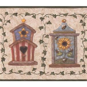 Retro Art Birdhouses and Green Vines Vintage Wallpaper - Beige