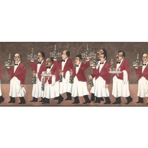 York Wallcoverings Waiters with Champagne Wallpaper - Brown