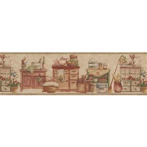 Norwall Kitchen Chests and Food Jars Wallpaper Border - Beige