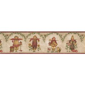 Norwall Scarecrows and Sunflowers Wallpaper Border - Beige