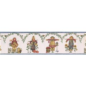 Norwall Scarecrows and Sunflowers Wallpaper Border - White