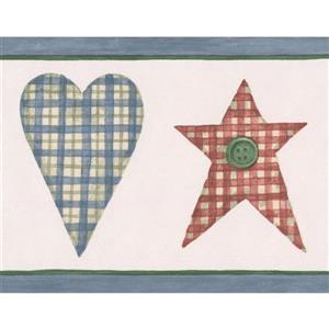 Norwall Hearts and Stars Kitchen Wallpaper Border - Green/Blue