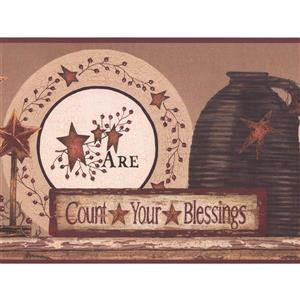 York Wallcoverings Count Your Blessings Wallpaper Border - Purple/Black