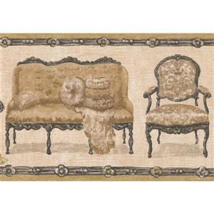 Retro Art Chair and Loveseat Wallpaper Border - Beige