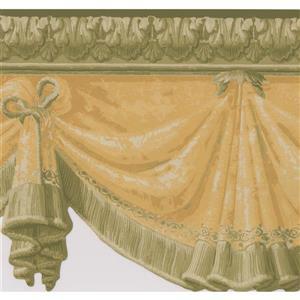 Retro Art Hanging Curtains Wallpaper Border - Brown