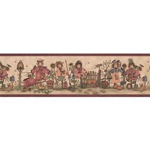 Retro Art Scarecrows in Yard Country Wallpaper - Beige