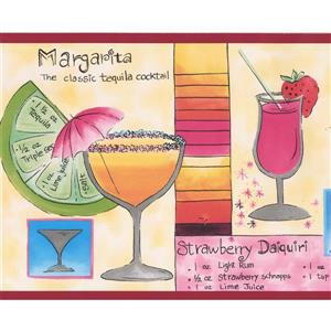 Retro Art Cocktails with Recipes Kitchen Bar Wallpaper