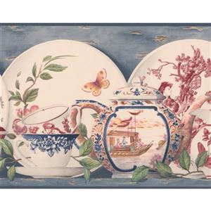 Retro Art Plates and Cups Kitchen Wallpaper - White