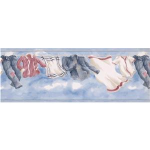 Retro Art Clothesline Wallpaper Border - Blue