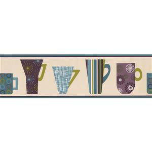 Retro Art Abstract Kitchen Cups Wallpaper Border - Beige